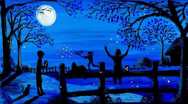 Firefly Painting - Chasing Fireflies by Sylvia Pimental