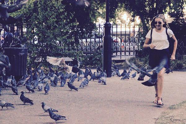 Photograph - Chasing Pigeons by Rasma Bertz