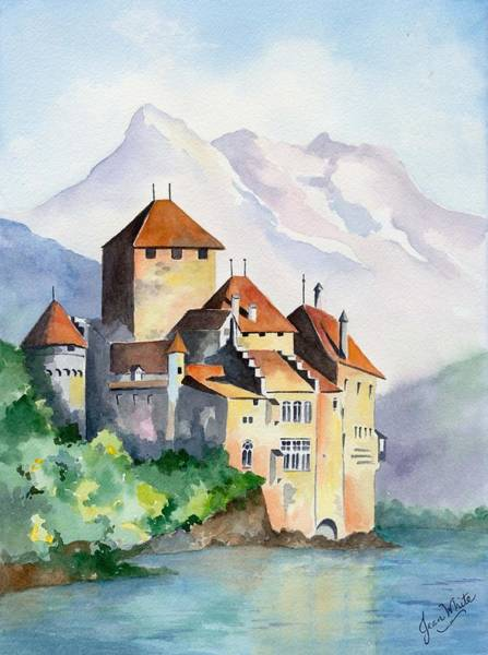 Lake Geneva Wall Art - Painting - Chateau De Chillon In Switzerland by Jean Walker White