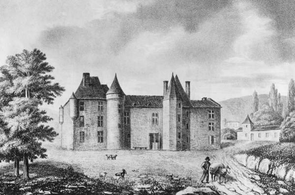 Castle Drawing - Chateau De Montaigne by French School