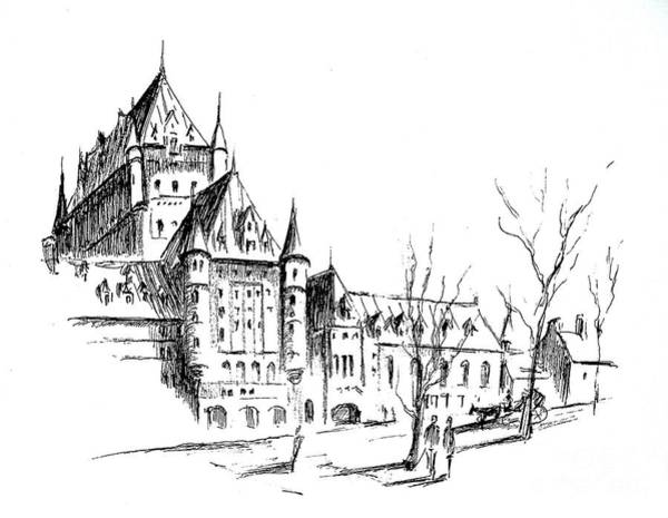 Quebec City Drawing - Chateau Frontenac In Autumn by Louise Lavallee