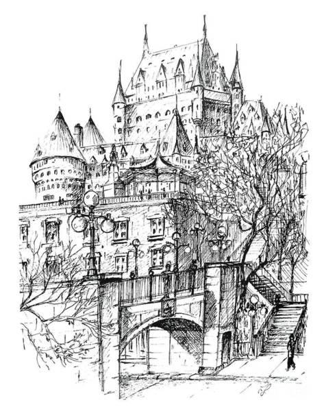 Quebec City Drawing - Chateau Frontenac Rue De La Montagne by Louise Lavallee