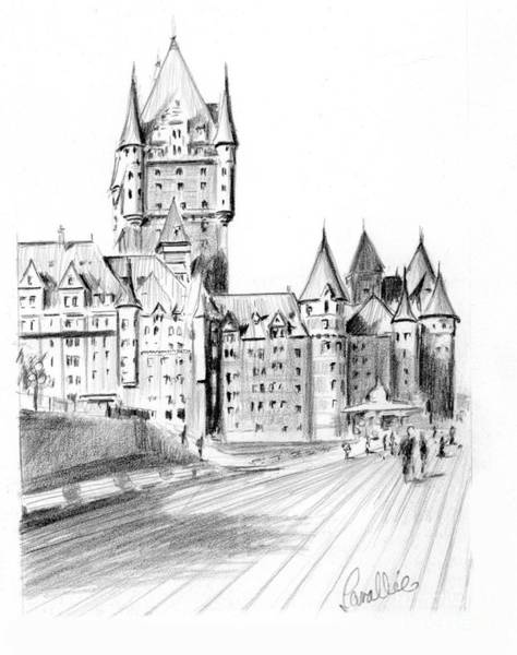 Quebec City Drawing - Chateau Frontenac Terrace by Louise Lavallee