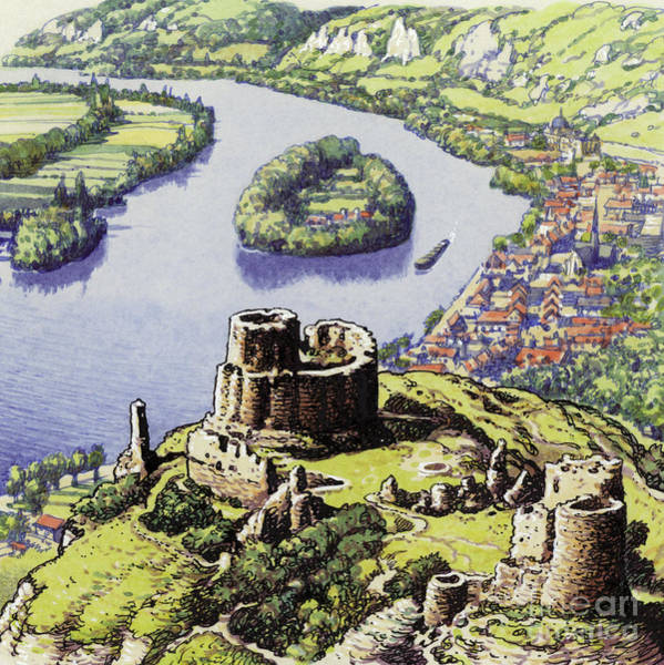 Wall Art - Painting - Chateau Gaillard, Also Known As The New Castle Of The Rock  by Pat Nicolle
