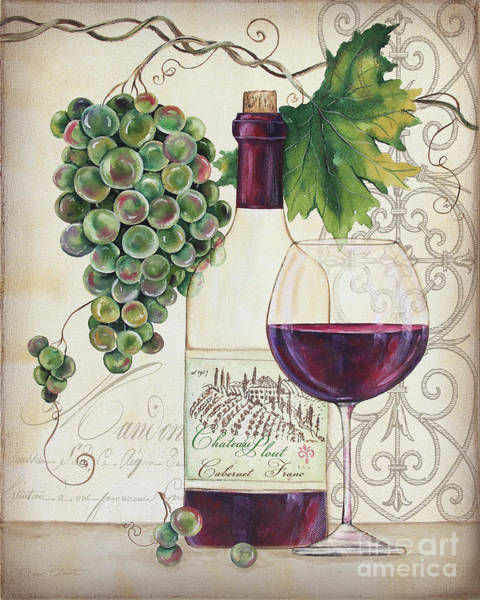 Booze Wall Art - Painting - Chateau Plout Wine-b by Jean Plout