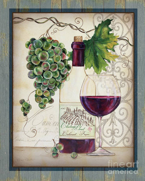 Booze Wall Art - Painting - Chateau Plout Wine-d by Jean Plout