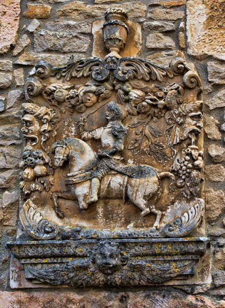 Chateauneuf Photograph - Chateauneuf, Cote-d'or, France, Frieze On Chateau Wall by Curt Rush
