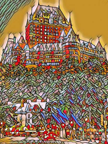 Quebec City Digital Art - Chateaux Frontenac Stained Glass Style by John Malone
