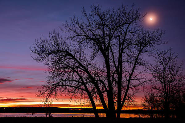 White Moon Photograph - Chatfield Moon At Sunrise by Darren  White
