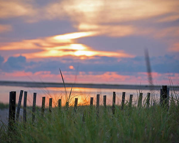 Photograph - Chatham Ma Cape Cod Sunrise Fence by Toby McGuire