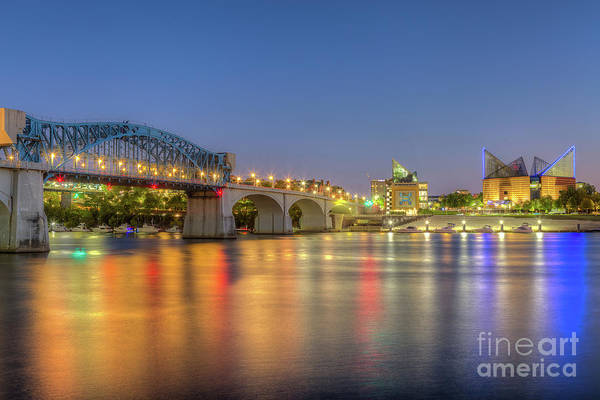 Wall Art - Photograph - Chattanooga Market Street Bridge At Twilight I by Clarence Holmes