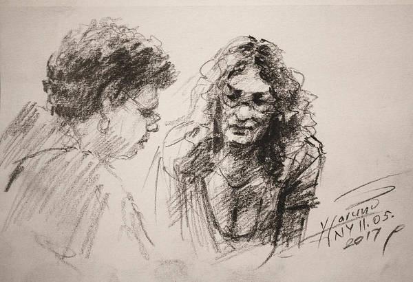 Wall Art - Drawing - Chatting by Ylli Haruni