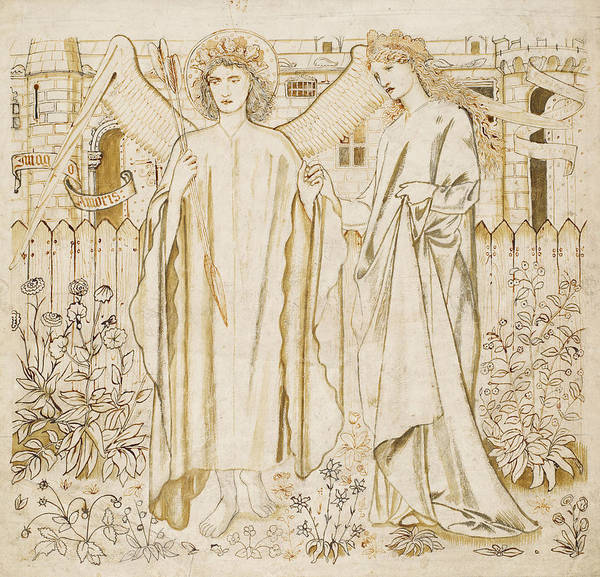 Drawing - Chaucers Legend Of Good Women Amor And Alcestis  by Edward Burne-Jones