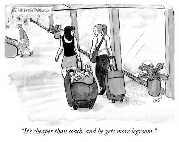 Luggage Drawing - Cheaper Than Coach by Carolita Johnson