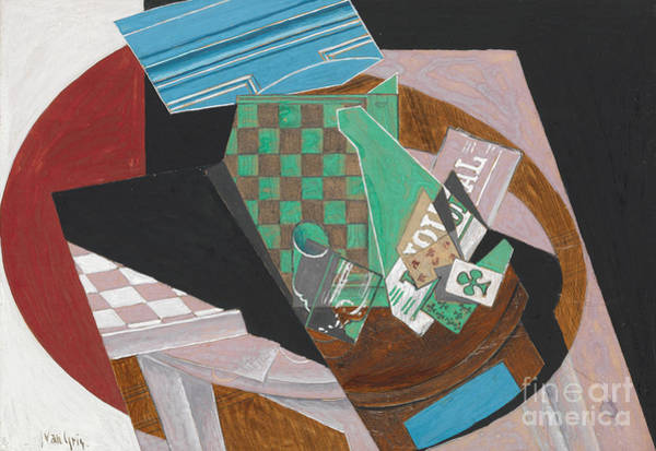 Chess Club Painting - Checkerboard And Playing Cards, 1915  by Juan Gris