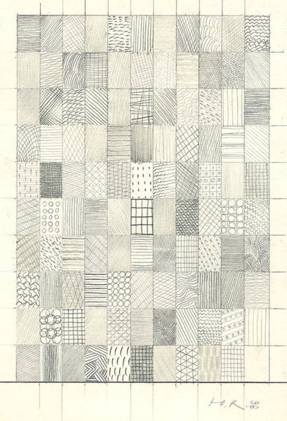 Wall Art - Drawing - Checkered Structure N110. 1996 by Yuri Yudaev-Racei
