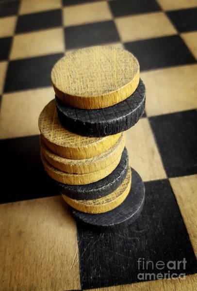 Checker Photograph - Checkers On A Checkerboard by Bernard Jaubert