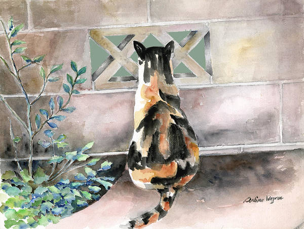 Calico Cat Painting - Checking Out The Neighbors Backyard by Arline Wagner