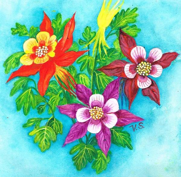 Painting - Cheeky Columbines by Val Stokes