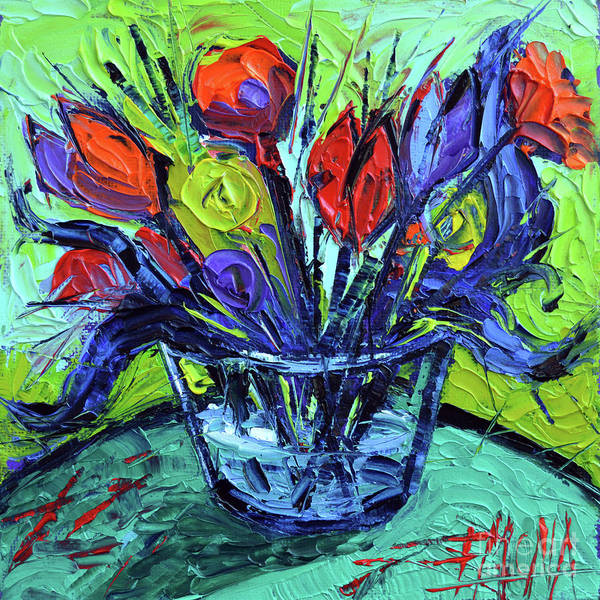 Gestural Painting - Cheerful Abstract Flowers by Mona Edulesco