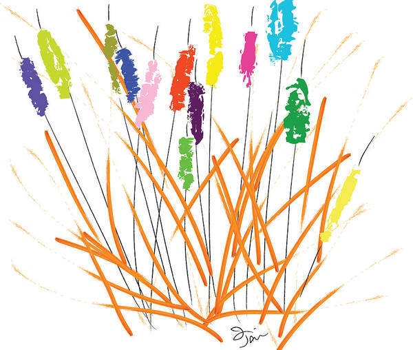 Painting - Cheerful Cattails by Oiyee At Oystudio