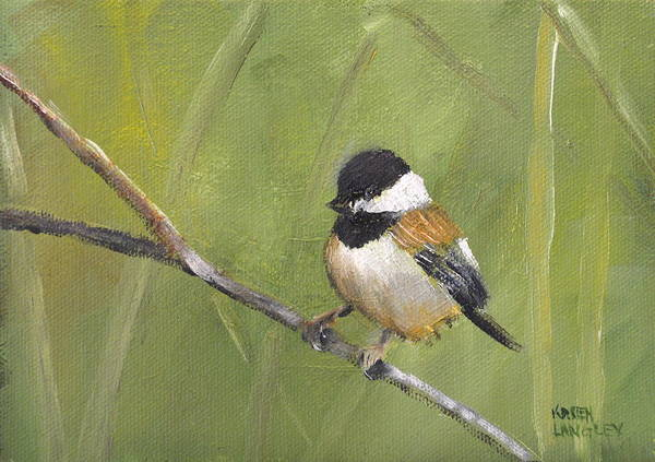 Wall Art - Painting - Cheerful Chickadee by Karen Langley