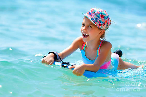 Bodyboard Photograph - Cheerful Little Girl In The Sea by Anna Om