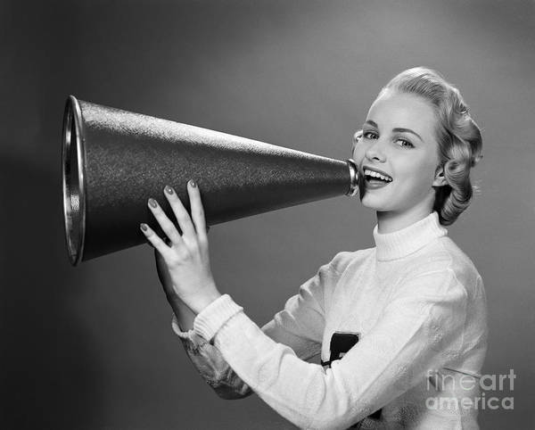 Cheerleaders Photograph - Cheerleader With Megaphone, C.1950s by H. Armstrong Roberts/ClassicStock