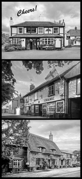 Photograph - Cheers - Eat Drink And Be Merry - 3 Pubs Bw by Gill Billington
