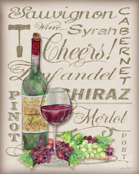 Wall Art - Painting - Cheers Wine Art-jp3971 by Jean Plout