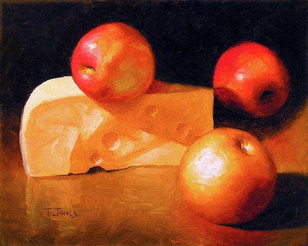 Wall Art - Painting - Cheese And Apples by Timothy Jones
