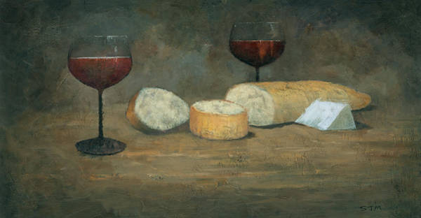 Wall Art - Painting - Cheese And Wine by Steve Mitchell