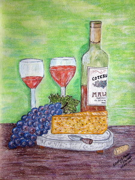 Glass Cutting Painting - Cheese Wine And Grapes by Kathy Marrs Chandler