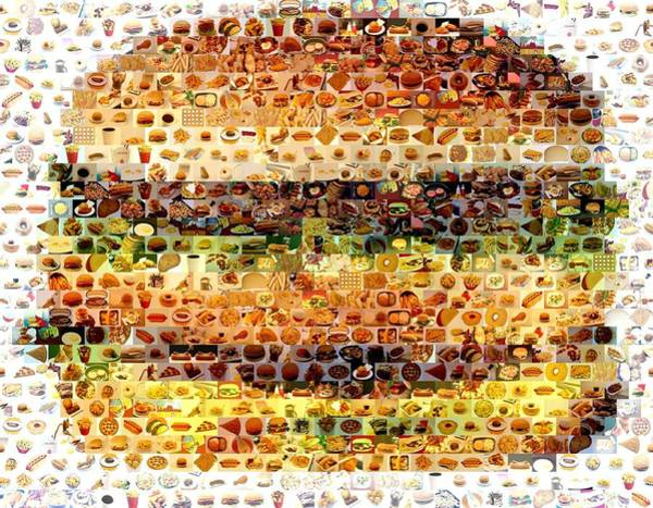 Mac Mixed Media - Cheeseburger Fast Food Mosaic by Paul Van Scott