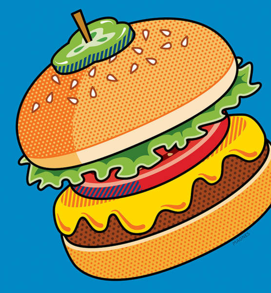 Meat Digital Art - Cheeseburger On Blue by Ron Magnes