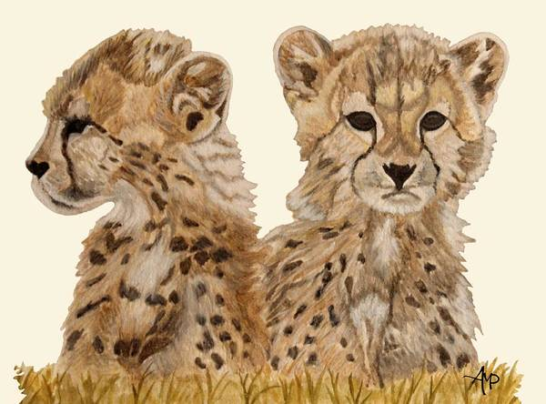 Painting - Cheetah Cubs by Angeles M Pomata