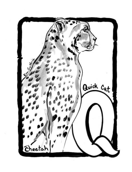 Wall Art - Painting - Cheetah Drawing With The Letter Q by Kim Guthrie