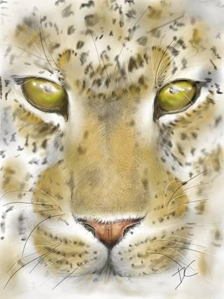 Digital Art - Cheetah Face by Darren Cannell