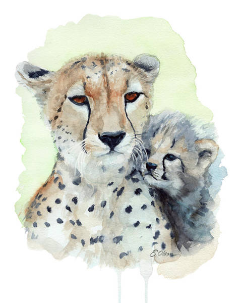 Snuggle Painting - Cheetah Mom And Cub by Emily Olson