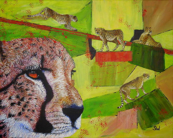 Painting - Cheetahs At Play by Shirley Wellstead