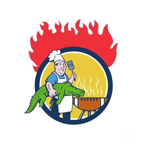 Bbq Digital Art - Chef Alligator Spatula Bbq Grill Fire Circle Cartoon by Aloysius Patrimonio