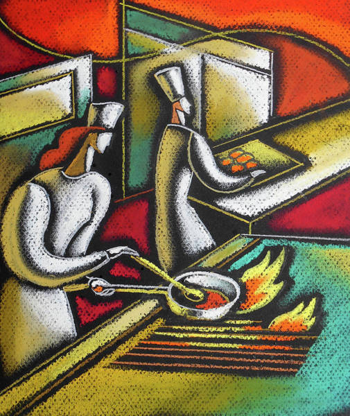 Wall Art - Painting - Chef And Cooking Food by Leon Zernitsky