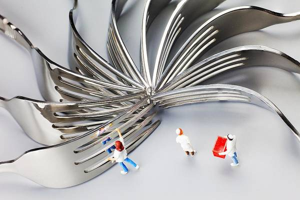Wall Art - Photograph - Chef And Forks Little People On Food  by Paul Ge