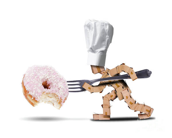 Icing Digital Art - Chef Box Character Attacking A Large Donut by Simon Bratt Photography LRPS