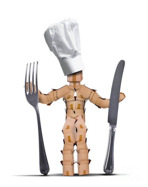 Fork Digital Art - Chef Box Man Character With Cutlery by Simon Bratt Photography LRPS