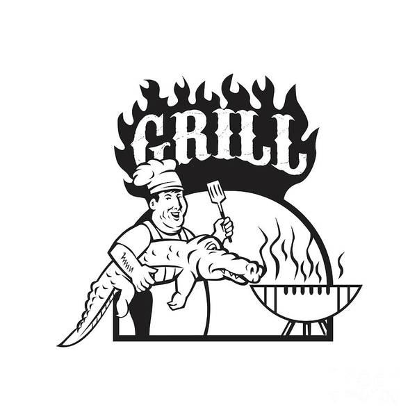 Bbq Digital Art - Chef Carry Alligator Grill Cartoon by Aloysius Patrimonio