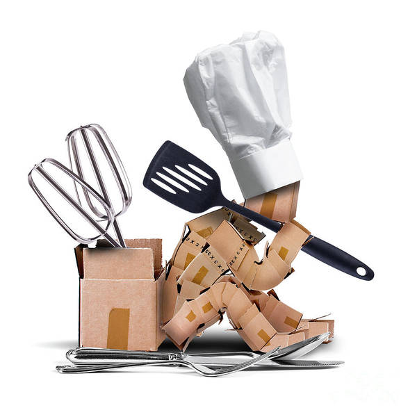 Fork Digital Art - Chef Character Sat Thinking With Kitchen Tools by Simon Bratt Photography LRPS