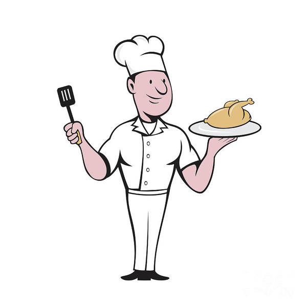 Serve Digital Art - Chef Cook Roast Chicken Spatula Cartoon by Aloysius Patrimonio