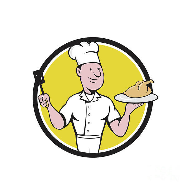 Serve Digital Art - Chef Cook Roast Chicken Spatula Circle Cartoon by Aloysius Patrimonio