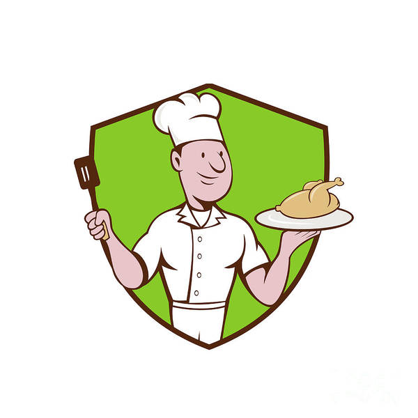 Serve Digital Art - Chef Cook Roast Chicken Spatula Crest Cartoon by Aloysius Patrimonio